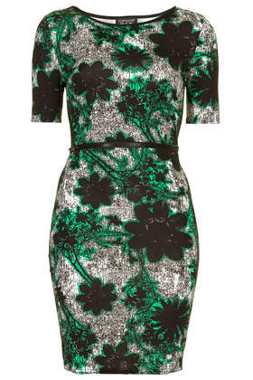 Tokyo Flower Zip Bodycon Dress - neckline: round neck; fit: tight; style: bodycon; occasions: casual, evening, creative work; length: just above the knee; fibres: polyester/polyamide - stretch; predominant colour: multicoloured; sleeve length: short sleeve; sleeve style: standard; texture group: jersey - clingy; pattern type: fabric; pattern size: big & busy; pattern: florals; trends: furious florals; season: a/w 2013; multicoloured: multicoloured
