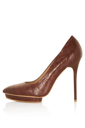 Soda Croc Platform Court Shoes - predominant colour: chocolate brown; occasions: evening, work, occasion, creative work; material: leather; heel height: high; heel: stiletto; toe: pointed toe; style: courts; finish: plain; pattern: animal print; shoe detail: platform; season: a/w 2013