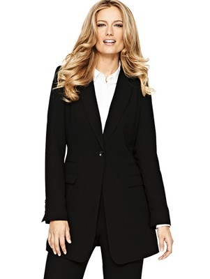Crepe Long Length Jacket, Black - pattern: plain; style: single breasted blazer; collar: standard lapel/rever collar; predominant colour: black; occasions: casual, evening, work, creative work; fit: tailored/fitted; fibres: polyester/polyamide - 100%; length: mid thigh; sleeve length: long sleeve; sleeve style: standard; texture group: crepes; collar break: medium; pattern type: fabric; season: a/w 2013