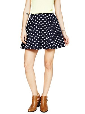 Skater Jersey Skirt - length: mid thigh; fit: loose/voluminous; pattern: polka dot; waist: mid/regular rise; secondary colour: white; predominant colour: black; occasions: casual, holiday, creative work; style: a-line; fibres: polyester/polyamide - mix; hip detail: soft pleats at hip/draping at hip/flared at hip; pattern type: fabric; texture group: jersey - stretchy/drapey; season: a/w 2013; pattern size: standard (bottom)