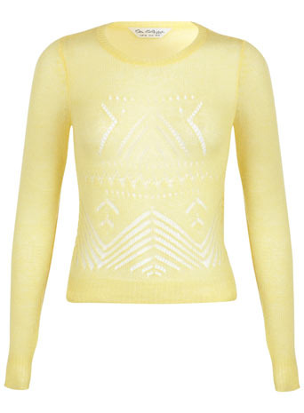 Yellow Mohair Jumper - neckline: round neck; pattern: plain; style: standard; predominant colour: primrose yellow; occasions: casual, work, creative work; length: standard; fibres: acrylic - mix; fit: slim fit; sleeve length: long sleeve; sleeve style: standard; texture group: knits/crochet; trends: sorbet shades; season: a/w 2013