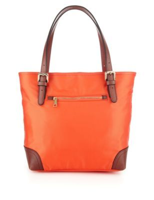 Leather Trim Double Handle Small Tote Bag - predominant colour: bright orange; secondary colour: tan; occasions: casual; type of pattern: standard; style: tote; length: shoulder (tucks under arm); size: standard; material: fabric; embellishment: zips; finish: plain; pattern: colourblock; season: s/s 2014
