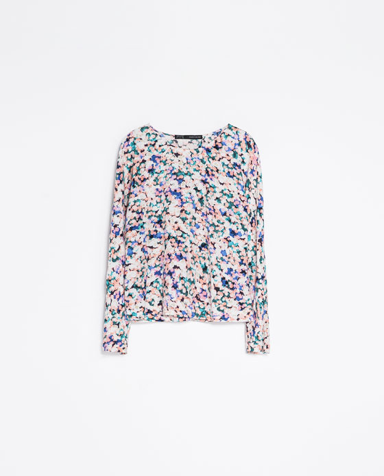 Printed Blouse - neckline: round neck; style: blouse; predominant colour: blush; secondary colour: royal blue; occasions: casual, work, creative work; length: standard; fibres: viscose/rayon - 100%; fit: loose; sleeve length: long sleeve; sleeve style: standard; pattern type: fabric; pattern size: standard; pattern: patterned/print; texture group: other - light to midweight; season: a/w 2013