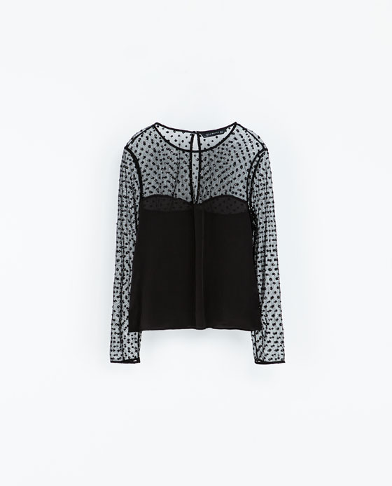 Combined Embroidered Top - neckline: round neck; pattern: polka dot; predominant colour: black; occasions: evening, work, occasion, creative work; length: standard; style: top; fibres: polyester/polyamide - 100%; fit: straight cut; sleeve length: long sleeve; sleeve style: standard; texture group: jersey - stretchy/drapey; embellishment: embroidered; trends: summer sparkle; season: a/w 2013
