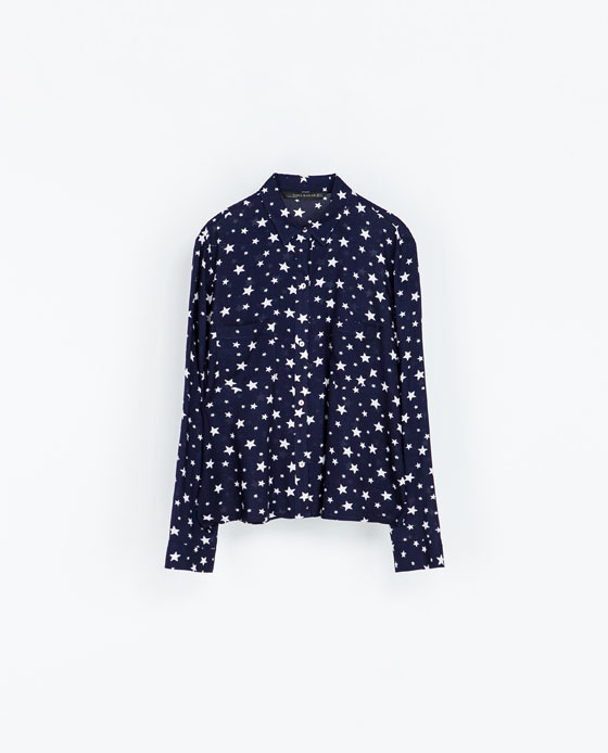 Printed Shirt With Pockets - neckline: shirt collar/peter pan/zip with opening; style: shirt; secondary colour: white; predominant colour: navy; occasions: casual, evening, creative work; length: standard; fibres: viscose/rayon - 100%; fit: loose; sleeve length: long sleeve; sleeve style: standard; pattern type: fabric; pattern size: standard; pattern: patterned/print; texture group: other - light to midweight; season: a/w 2013