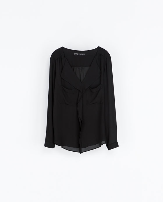 V Neck Blouse - neckline: low v-neck; pattern: plain; length: below the bottom; style: blouse; predominant colour: black; occasions: casual, evening, work, creative work; fibres: polyester/polyamide - 100%; fit: loose; sleeve length: long sleeve; sleeve style: standard; texture group: sheer fabrics/chiffon/organza etc.; season: a/w 2013