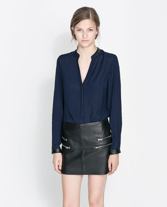 Shirt With Contrasting Collar - neckline: low v-neck; pattern: plain; length: below the bottom; style: shirt; predominant colour: navy; occasions: casual, evening, creative work; fibres: viscose/rayon - 100%; fit: loose; sleeve length: long sleeve; sleeve style: standard; texture group: sheer fabrics/chiffon/organza etc.; season: a/w 2013