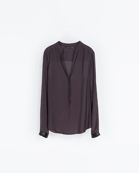 Shirt With Contrasting Collar - neckline: low v-neck; pattern: plain; length: below the bottom; style: shirt; predominant colour: purple; occasions: casual, evening, creative work; fibres: viscose/rayon - 100%; fit: loose; sleeve length: long sleeve; sleeve style: standard; texture group: sheer fabrics/chiffon/organza etc.; season: a/w 2013
