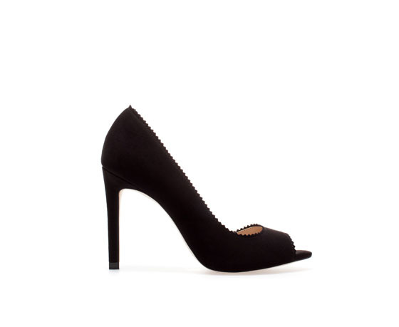 Asymmetric Peep Toe Stilettos - predominant colour: black; occasions: evening, work, occasion, creative work; material: faux leather; heel: stiletto; toe: open toe/peeptoe; style: courts; finish: plain; pattern: plain; heel height: very high; season: a/w 2013