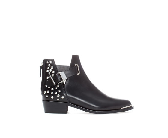 Studded Flat Leather Ankle Boot - predominant colour: black; occasions: casual, creative work; material: leather; heel height: mid; embellishment: studs; heel: standard; toe: round toe; boot length: ankle boot; style: standard; finish: plain; pattern: plain; season: a/w 2013