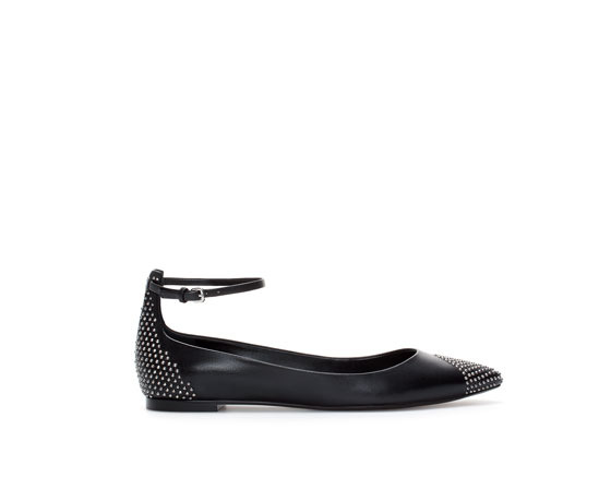 Leather Ballerina Flats With Studded Ankle Strap - predominant colour: black; occasions: casual, work, creative work; material: leather; heel height: flat; embellishment: studs; ankle detail: ankle strap; toe: pointed toe; style: ballerinas / pumps; finish: plain; pattern: plain; season: a/w 2013