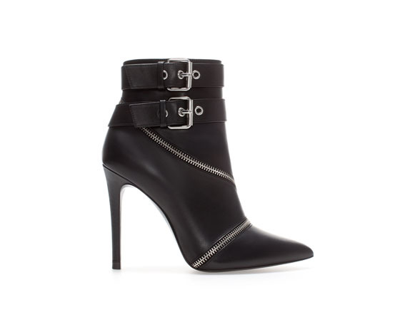 High Heel Leather Ankle Boot With Zips - predominant colour: black; material: leather; heel height: high; embellishment: buckles; heel: standard; toe: pointed toe; boot length: ankle boot; style: standard; finish: plain; pattern: plain; occasions: creative work; season: a/w 2013