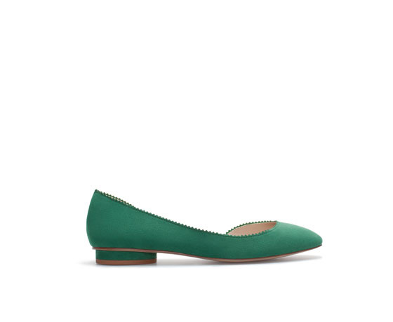 Asymmetric Ballerina Flats - predominant colour: teal; occasions: casual, work, creative work; material: faux leather; heel height: flat; toe: round toe; style: ballerinas / pumps; finish: plain; pattern: plain; season: a/w 2013