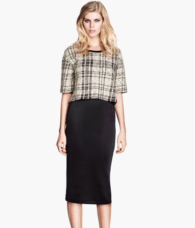 Pencil Skirt - length: below the knee; pattern: plain; style: pencil; fit: body skimming; waist: high rise; predominant colour: black; occasions: casual, evening, work, occasion, creative work; fibres: polyester/polyamide - stretch; pattern type: fabric; texture group: jersey - stretchy/drapey; season: a/w 2013