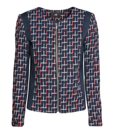 Jacket In A Textured Weave - style: single breasted blazer; collar: round collar/collarless; secondary colour: true red; predominant colour: navy; occasions: casual, evening, work, creative work; length: standard; fit: tailored/fitted; fibres: cotton - mix; sleeve length: 3/4 length; sleeve style: standard; collar break: high/illusion of break when open; pattern type: fabric; pattern size: standard; pattern: patterned/print; texture group: woven light midweight; season: a/w 2013