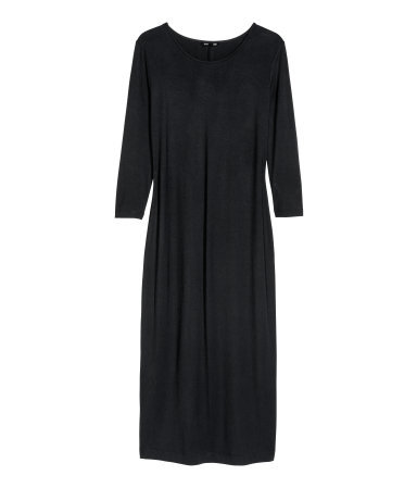 Jersey Dress - style: t-shirt; length: calf length; neckline: round neck; fit: loose; pattern: plain; predominant colour: black; occasions: casual, creative work; fibres: viscose/rayon - stretch; sleeve length: 3/4 length; sleeve style: standard; pattern type: fabric; texture group: jersey - stretchy/drapey; season: a/w 2013
