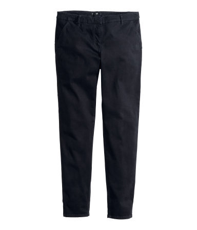 Chinos - length: standard; pattern: plain; pocket detail: small back pockets, pockets at the sides, traditional 5 pocket; waist: mid/regular rise; predominant colour: black; occasions: casual, work, creative work; style: chino; fibres: cotton - stretch; texture group: cotton feel fabrics; fit: slim leg; pattern type: fabric; season: a/w 2013