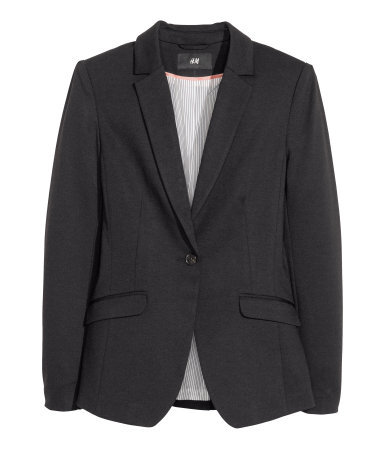 Jersey Jacket - pattern: plain; style: single breasted blazer; collar: standard lapel/rever collar; predominant colour: black; occasions: casual, work, creative work; length: standard; fit: tailored/fitted; fibres: polyester/polyamide - stretch; sleeve length: long sleeve; sleeve style: standard; collar break: medium; pattern type: fabric; texture group: jersey - stretchy/drapey; season: a/w 2013