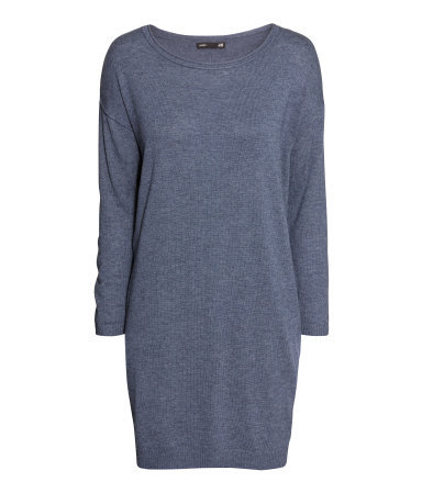 Fine Knit Dress - style: jumper dress; length: mid thigh; neckline: round neck; fit: loose; pattern: plain; predominant colour: denim; occasions: casual; fibres: wool - mix; sleeve length: long sleeve; sleeve style: standard; texture group: knits/crochet; pattern type: knitted - fine stitch; season: a/w 2013