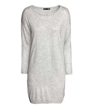 Fine Knit Dress - style: jumper dress; length: mid thigh; neckline: round neck; fit: loose; pattern: plain; predominant colour: light grey; occasions: casual, creative work; fibres: polyester/polyamide - mix; sleeve length: long sleeve; sleeve style: standard; texture group: knits/crochet; pattern type: knitted - fine stitch; season: a/w 2013