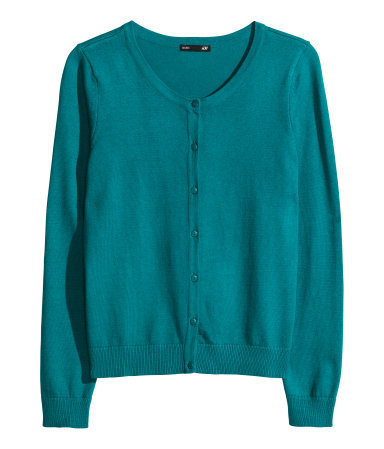 Fine Knit Cardigan - neckline: round neck; pattern: plain; predominant colour: emerald green; occasions: casual, creative work; length: standard; style: standard; fibres: polyester/polyamide - 100%; fit: slim fit; sleeve length: long sleeve; sleeve style: standard; texture group: knits/crochet; pattern type: fabric; season: a/w 2013