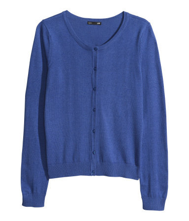Fine Knit Cardigan - neckline: round neck; pattern: plain; predominant colour: royal blue; occasions: casual, work, creative work; length: standard; style: standard; fibres: polyester/polyamide - 100%; fit: standard fit; sleeve length: long sleeve; sleeve style: standard; texture group: knits/crochet; pattern type: fabric; season: a/w 2013