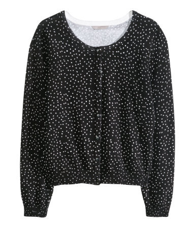 Fine Knit Cardigan - neckline: round neck; pattern: polka dot; secondary colour: white; predominant colour: black; occasions: casual, work, creative work; length: standard; style: standard; fibres: polyester/polyamide - 100%; fit: standard fit; sleeve length: long sleeve; sleeve style: standard; texture group: knits/crochet; pattern type: knitted - fine stitch; season: a/w 2013; trends: monochrome; pattern size: big & busy (top)