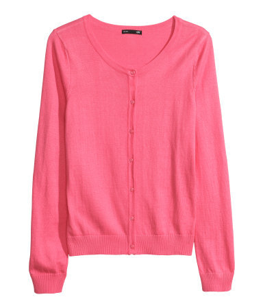 Fine Knit Cardigan - neckline: round neck; pattern: plain; predominant colour: pink; occasions: casual, work, creative work; length: standard; style: standard; fibres: cotton - 100%; fit: standard fit; sleeve length: long sleeve; sleeve style: standard; texture group: knits/crochet; pattern type: knitted - fine stitch; trends: hot brights; season: a/w 2013