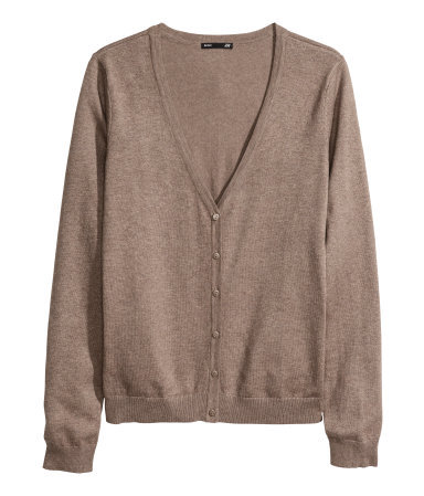 Fine Knit Cardigan - neckline: low v-neck; pattern: plain; predominant colour: taupe; occasions: casual, work, creative work; length: standard; style: standard; fibres: cotton - mix; fit: standard fit; sleeve length: long sleeve; sleeve style: standard; texture group: knits/crochet; season: a/w 2013