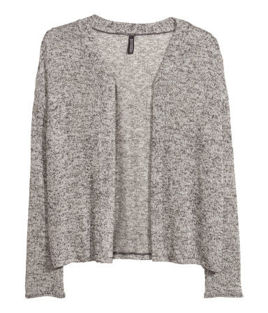 Fine Knit Cardigan - pattern: plain; neckline: collarless open; style: open front; predominant colour: mid grey; occasions: casual, work, creative work; length: standard; fibres: polyester/polyamide - mix; fit: loose; sleeve length: long sleeve; sleeve style: standard; texture group: knits/crochet; season: a/w 2013