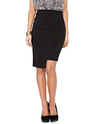 Asymmetric Jersey Pencil Skirt, Black - pattern: plain; style: pencil; fit: tailored/fitted; waist: high rise; predominant colour: black; occasions: evening, work, creative work; length: just above the knee; fibres: polyester/polyamide - 100%; pattern type: fabric; texture group: jersey - stretchy/drapey; season: a/w 2013