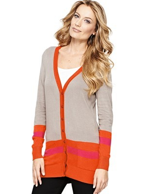 Contrast Trim Cardigan, Magenta - neckline: low v-neck; secondary colour: bright orange; predominant colour: stone; occasions: casual, creative work; style: standard; fibres: acrylic - 100%; fit: standard fit; length: mid thigh; hip detail: contrast fabric/print detail at hip; sleeve length: long sleeve; sleeve style: standard; texture group: knits/crochet; pattern type: knitted - other; pattern size: standard; pattern: colourblock; season: a/w 2013