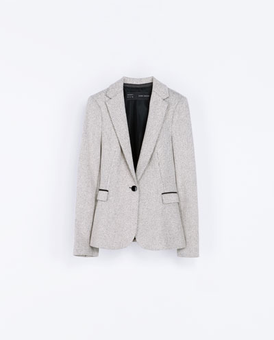 Herringbone Blazer - style: single breasted blazer; collar: standard lapel/rever collar; pattern: herringbone/tweed; predominant colour: light grey; occasions: casual, evening, work, creative work; length: standard; fit: tailored/fitted; fibres: cotton - mix; sleeve length: long sleeve; sleeve style: standard; collar break: low/open; pattern type: fabric; texture group: woven light midweight; season: a/w 2013