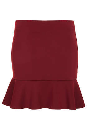 Drop Hem Flippy Skirt - length: mid thigh; pattern: plain; fit: tailored/fitted; waist: mid/regular rise; predominant colour: burgundy; occasions: casual, evening, occasion, holiday, creative work; style: fit & flare; fibres: polyester/polyamide - stretch; hip detail: ruffles/tiers/tie detail at hip; pattern type: fabric; texture group: other - light to midweight; season: a/w 2013