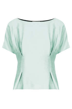 **Mint Tucked Tee Unique - neckline: slash/boat neckline; pattern: plain; waist detail: flattering waist detail; predominant colour: mint green; occasions: casual, evening, occasion, creative work; length: standard; style: top; fit: tailored/fitted; sleeve length: short sleeve; sleeve style: standard; texture group: structured shiny - satin/tafetta/silk etc.; pattern type: fabric; fibres: viscose/rayon - mix; trends: sorbet shades; season: a/w 2013