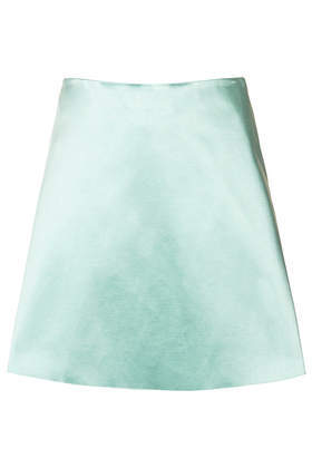 **Mint Satin Skirt Unique - length: mid thigh; pattern: plain; fit: loose/voluminous; waist: mid/regular rise; predominant colour: mint green; occasions: evening, occasion, creative work; style: a-line; fibres: cotton - mix; texture group: structured shiny - satin/tafetta/silk etc.; pattern type: fabric; trends: sorbet shades; season: a/w 2013