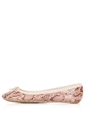 Vibrant Snake Ballet Pumps - predominant colour: blush; occasions: casual, creative work; material: faux leather; heel height: flat; toe: round toe; style: ballerinas / pumps; finish: plain; pattern: animal print; season: a/w 2013