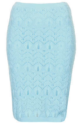 Knitted Lace Stitch Skirt - fit: tight; waist: high rise; hip detail: draws attention to hips; predominant colour: pale blue; occasions: casual, occasion, holiday, creative work; length: just above the knee; fibres: cotton - stretch; style: tube; texture group: knits/crochet; pattern type: fabric; pattern: patterned/print; trends: lace; season: a/w 2013