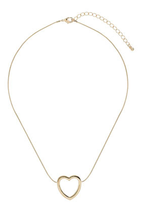 Cut Out Heart Necklace - predominant colour: gold; occasions: casual, work, creative work; style: pendant; length: short; size: small/fine; material: chain/metal; finish: metallic; season: a/w 2013