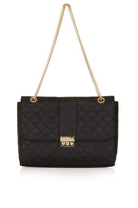 Quilted Shoulder Bag - predominant colour: black; occasions: casual, creative work; type of pattern: standard; style: shoulder; length: shoulder (tucks under arm); size: small; material: faux leather; pattern: plain; finish: plain; season: a/w 2013