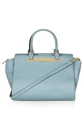 Plated Holdall Bag - predominant colour: pale blue; occasions: casual, work, creative work; type of pattern: standard; style: tote; length: handle; size: standard; material: faux leather; pattern: plain; finish: plain; season: a/w 2013