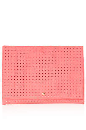Heart Perforated Clutch - predominant colour: coral; occasions: casual, evening, occasion, holiday, creative work; type of pattern: standard; style: clutch; length: hand carry; size: standard; material: faux leather; pattern: plain; finish: plain; trends: sorbet shades; season: a/w 2013