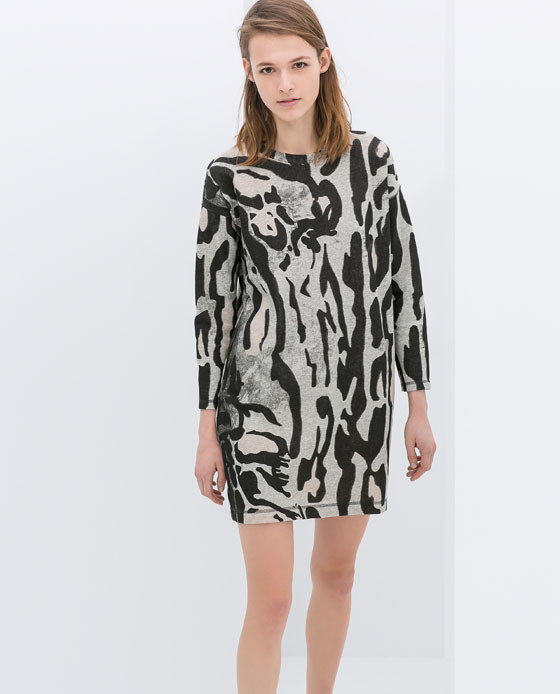 Printed Velour Dress - style: shift; length: mid thigh; secondary colour: ivory/cream; predominant colour: black; occasions: casual, evening, occasion, creative work; fit: body skimming; fibres: cotton - 100%; neckline: crew; sleeve length: long sleeve; sleeve style: standard; texture group: cotton feel fabrics; pattern type: fabric; pattern size: big & busy; pattern: patterned/print; season: s/s 2014; trends: monochrome