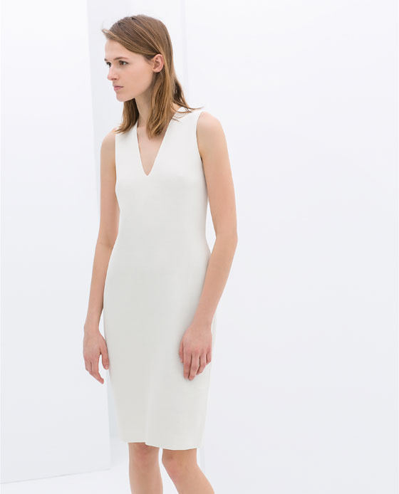 Sleeveless Tube Dress - style: shift; neckline: low v-neck; pattern: plain; sleeve style: sleeveless; predominant colour: white; occasions: evening, occasion, creative work; length: just above the knee; fit: body skimming; sleeve length: sleeveless; pattern type: fabric; texture group: other - light to midweight; fibres: viscose/rayon - mix; season: s/s 2014