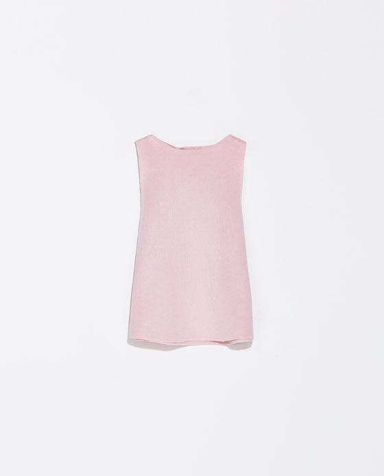 Sleeveless Top - neckline: slash/boat neckline; pattern: plain; sleeve style: sleeveless; predominant colour: blush; occasions: casual, evening, work, holiday, creative work; length: standard; style: top; fit: straight cut; sleeve length: sleeveless; texture group: silky - light; pattern type: fabric; fibres: viscose/rayon - mix; trends: sorbet shades; season: s/s 2014