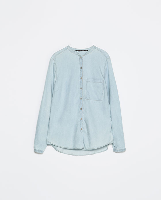 Mao Collar Denim Shirt - pattern: plain; length: below the bottom; style: shirt; predominant colour: pale blue; occasions: casual, creative work; neckline: collarstand; fibres: cotton - 100%; fit: loose; back detail: longer hem at back than at front; sleeve length: long sleeve; sleeve style: standard; texture group: denim; pattern type: fabric; season: s/s 2014