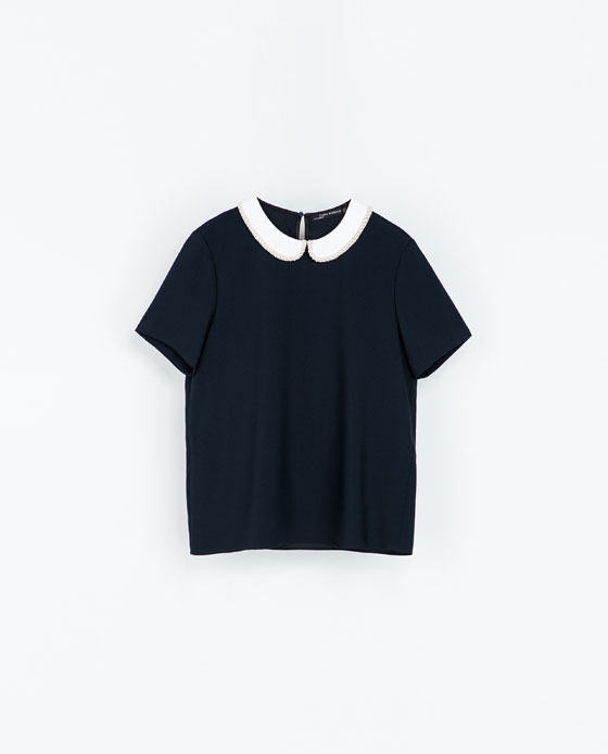 Blouse With Combination Collar - secondary colour: white; predominant colour: navy; occasions: casual, evening, work, creative work; length: standard; style: top; fibres: polyester/polyamide - 100%; fit: straight cut; neckline: no opening/shirt collar/peter pan; back detail: keyhole/peephole detail at back; sleeve length: short sleeve; sleeve style: standard; pattern type: fabric; pattern size: light/subtle; pattern: colourblock; texture group: other - light to midweight; season: s/s 2014