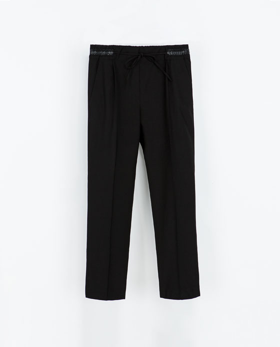 Wool Trousers - pattern: plain; waist: mid/regular rise; predominant colour: black; occasions: casual, evening, work, creative work; length: ankle length; fibres: polyester/polyamide - stretch; fit: straight leg; pattern type: fabric; texture group: woven light midweight; style: standard; season: s/s 2014