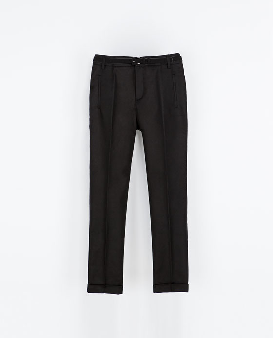 Two Ply Trousers - pattern: plain; pocket detail: small back pockets, pockets at the sides; waist: mid/regular rise; predominant colour: black; occasions: casual, evening, work, creative work; length: ankle length; fibres: cotton - stretch; texture group: cotton feel fabrics; fit: slim leg; style: standard; season: s/s 2014