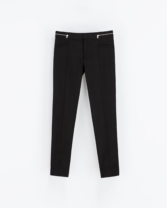 Trousers With Zipped Waistband - length: standard; pattern: plain; pocket detail: pockets at the sides; waist: mid/regular rise; predominant colour: black; occasions: casual, evening, work, creative work; fibres: cotton - stretch; fit: slim leg; texture group: other - light to midweight; style: standard; season: s/s 2014